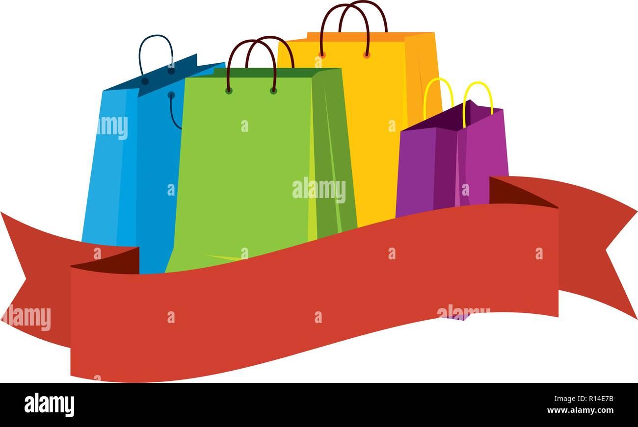 Quatre sacs de magasinage avec ruban vector illustration design Illustration de Vecteur