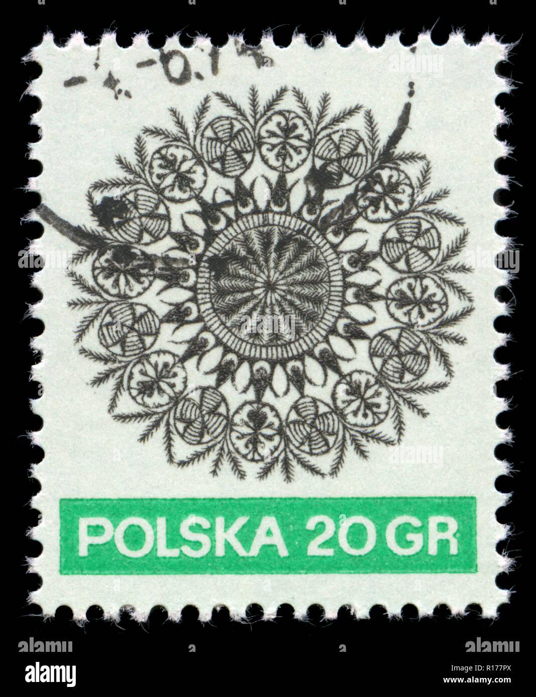 Timbre-poste de la Pologne dans l'Art Populaire de la série émise en 1971 Photo Stock