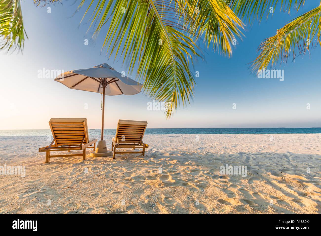 Scène de plage tranquille. Paysage plage tropical exotique pour le fond d'écran. Conception d ...