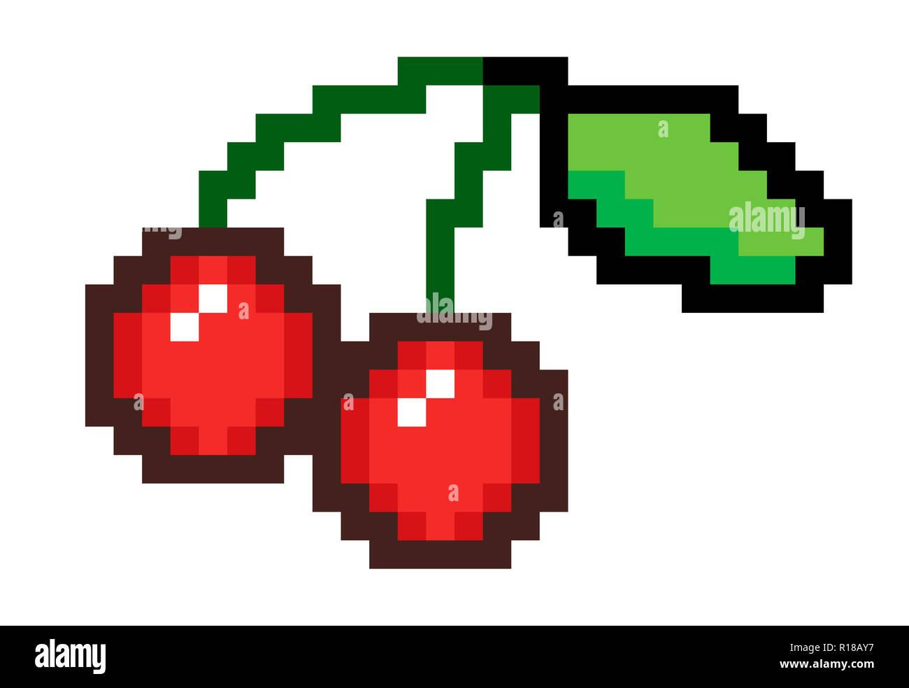 Pixel Art Une Paire De Cerises Rouges Mures Unis Par Les Tiges Avec Une Petite Feuille A La Fin Photo Stock Alamy