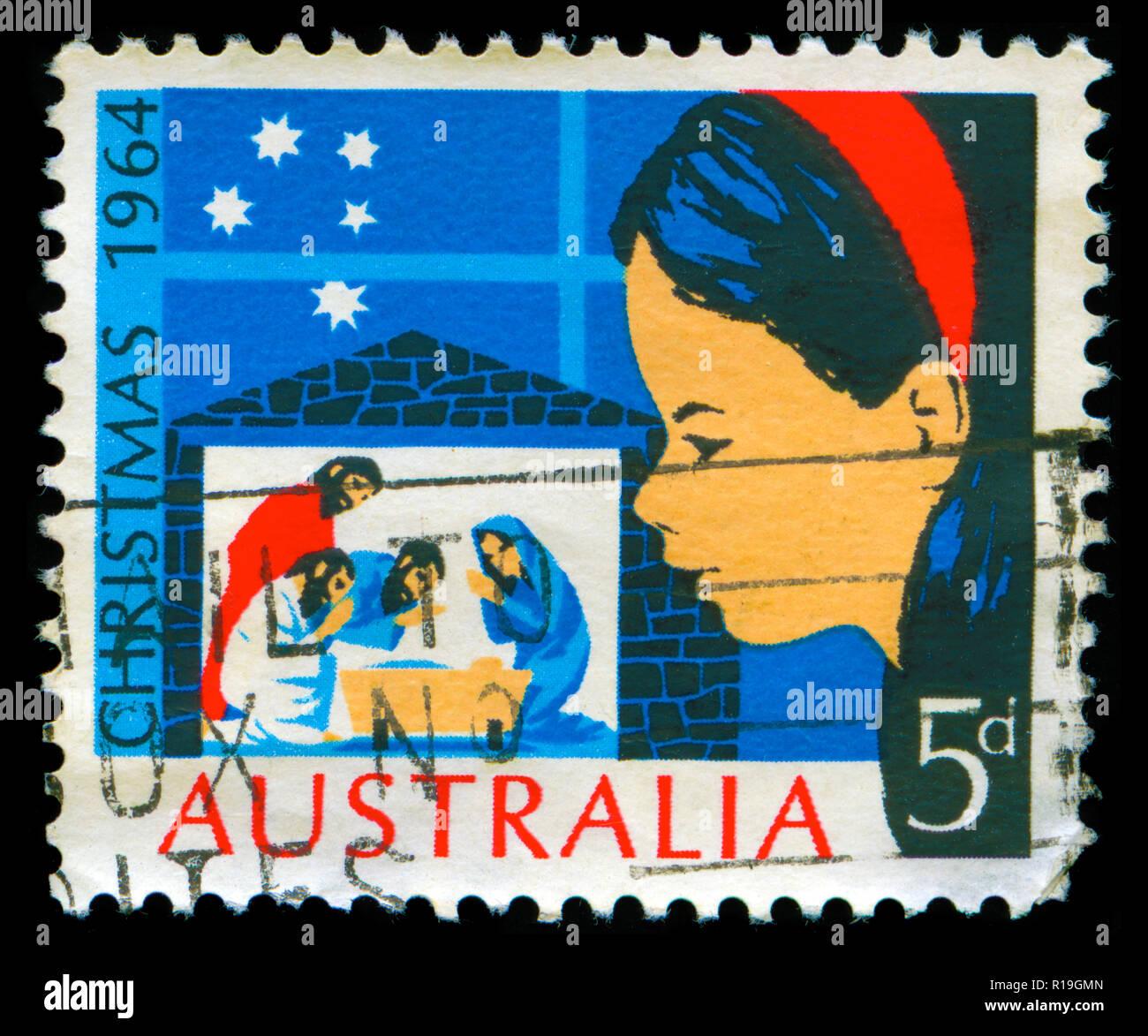Timbre cachet de l'Australie dans la série Noël 1964 Photo Stock