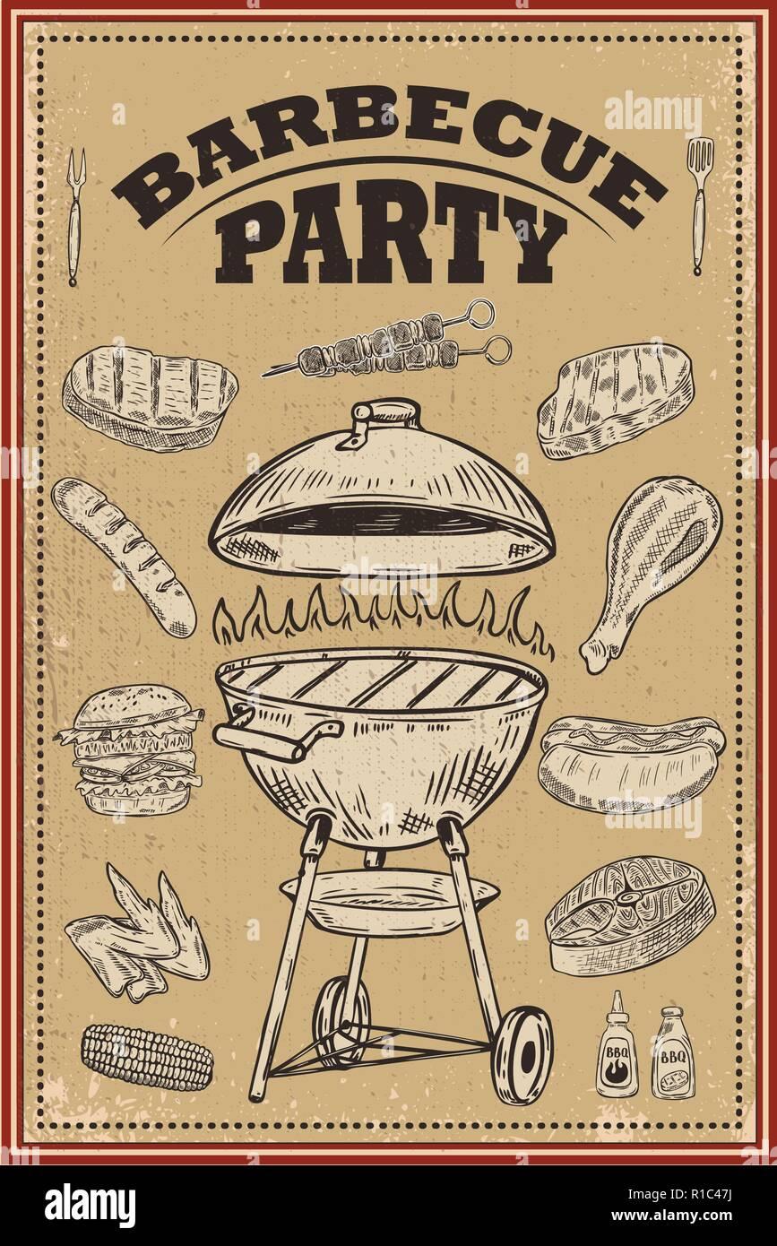 Bbq Party Poster Avec Des éléments De Conception à La Main Barbecue