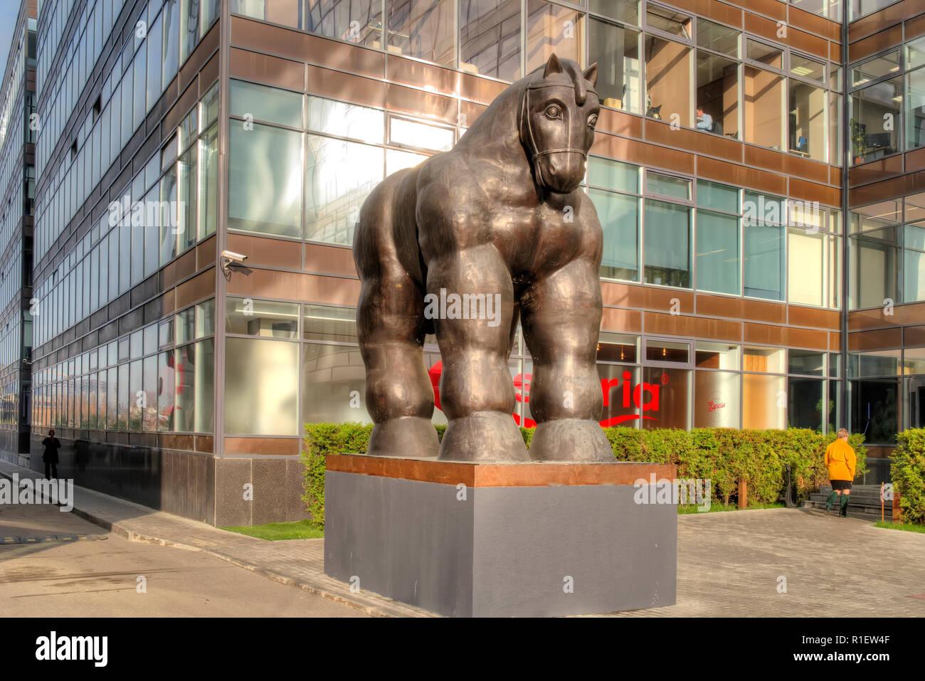 Moscou, Russie - novembre 07,2018: Sculpture du cheval de Troie dans la zone du centre d'affaires. La création d'un sculpteur colombien Photo Stock