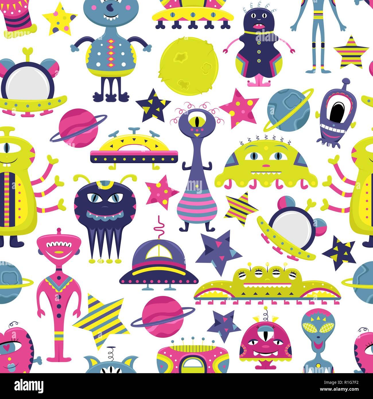Le vector cartoon motif transparent avec télévision, des vaisseaux spatiaux étrangers, les planètes, les satellites et le cosmonaute. Personnages loufoques. Illustration de Vecteur