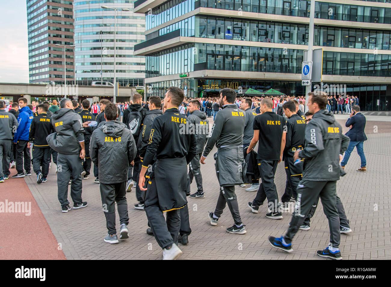 L'équipe des jeunes à l'AEK Amsterdam The Netherlands 2018 Photo Stock