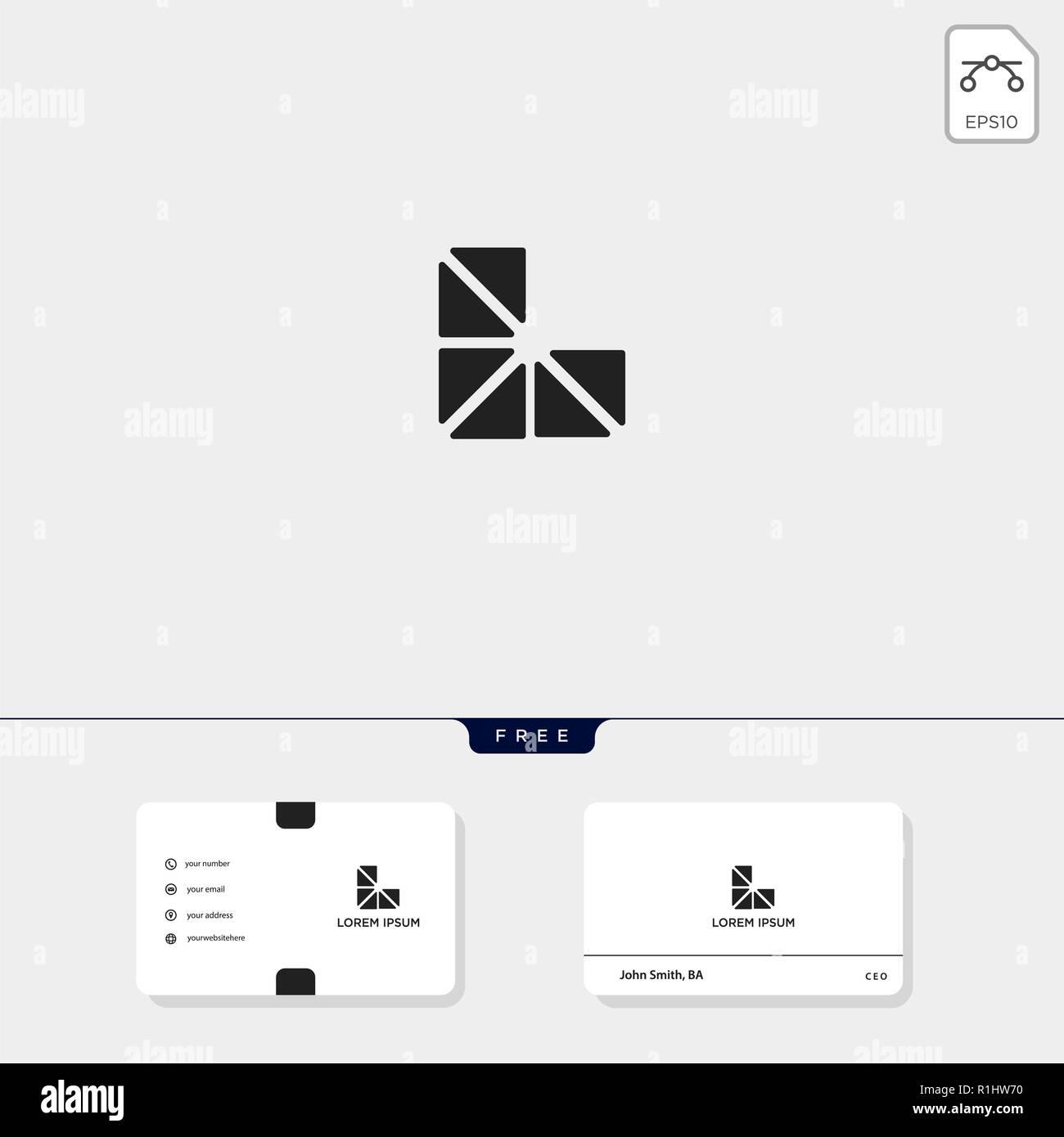 L Geometrique Initial Premium Creative Modele Logo Et Carte De Visite Conception Vector Illustration Le Dinspiration