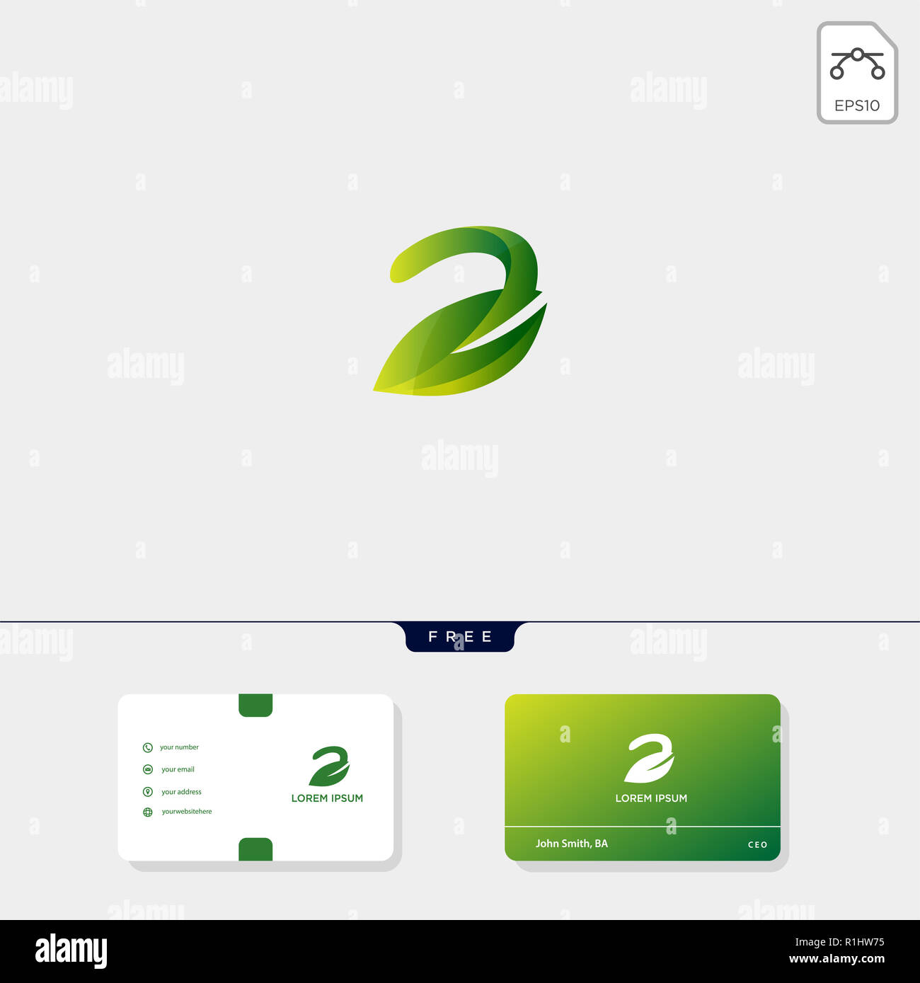 E Initial Premium Green Nature Crative Feuille Modle Logo Et Carte De Visite Conception Vector Illustration Le Dinspiration