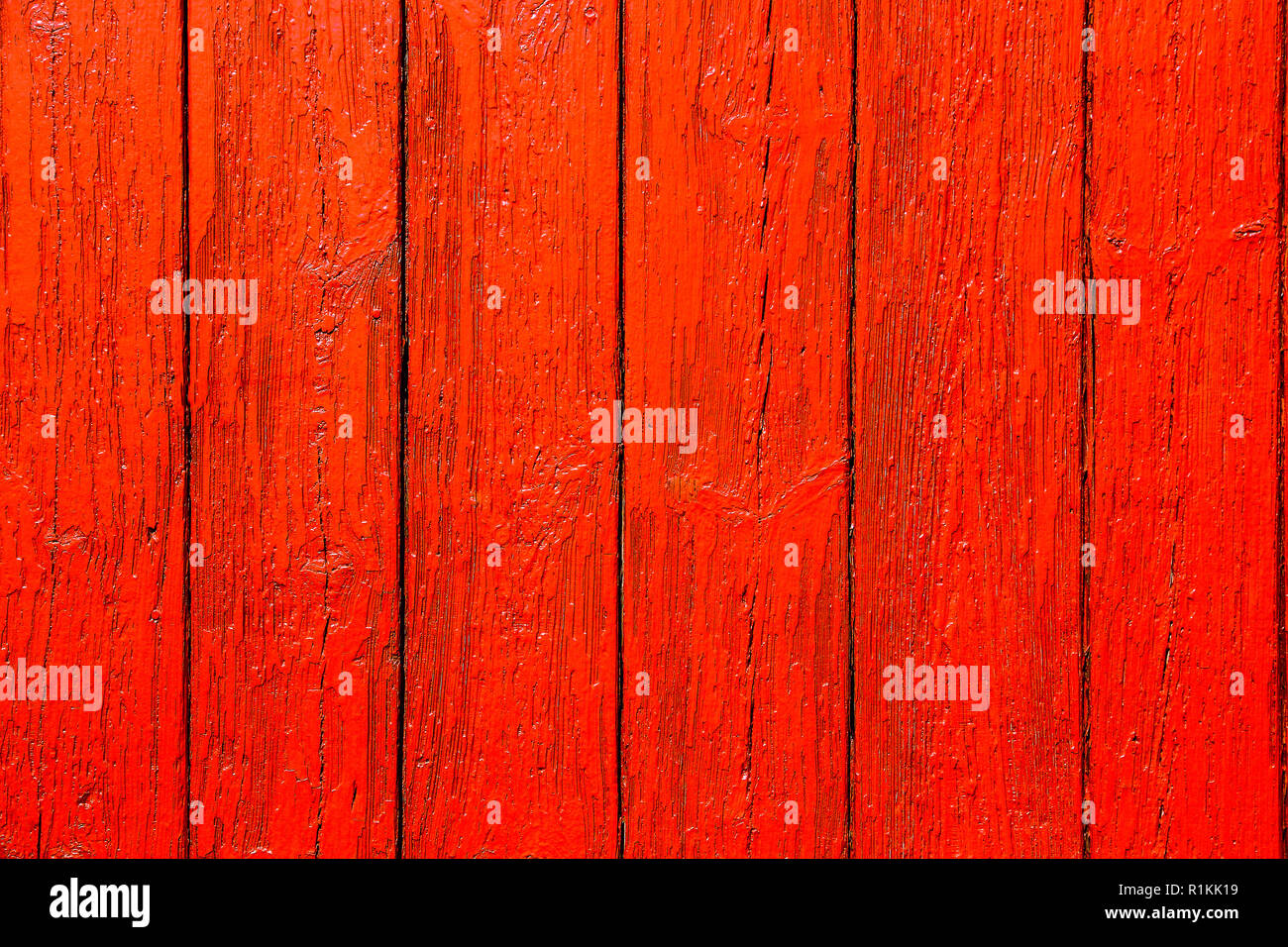 Orange Rouge Planche Murale En Bois Peint