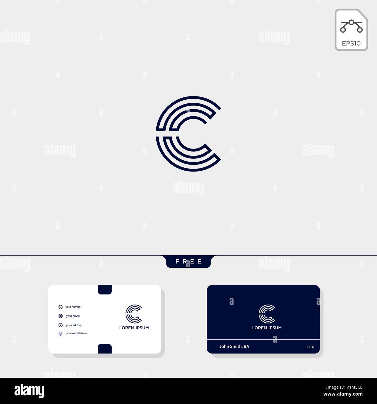 C Initial CC Creative Modle Logo Et Carte De Visite Conception Vector Illustration Le Dinspiration