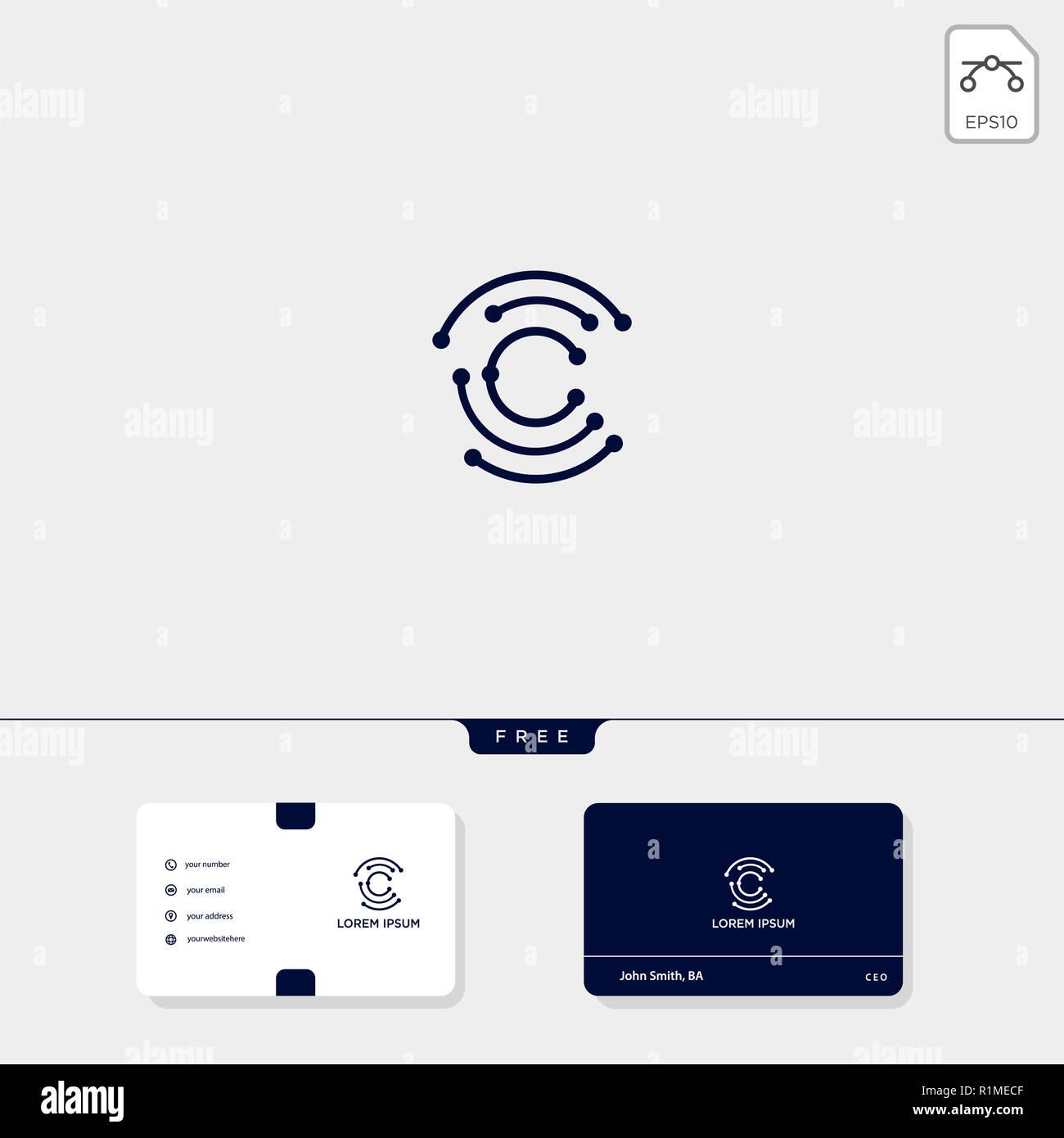 C Initial CC Creative Modele Logo Et Carte De Visite Conception Vector Illustration Le Dinspiration