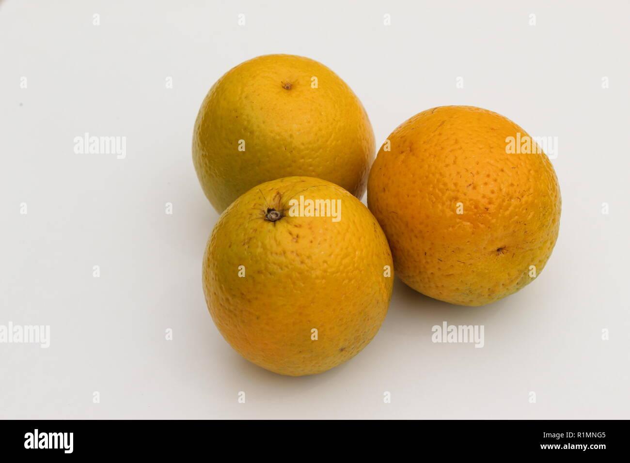 Trois oranges ensemble sur un fond blanc Photo Stock