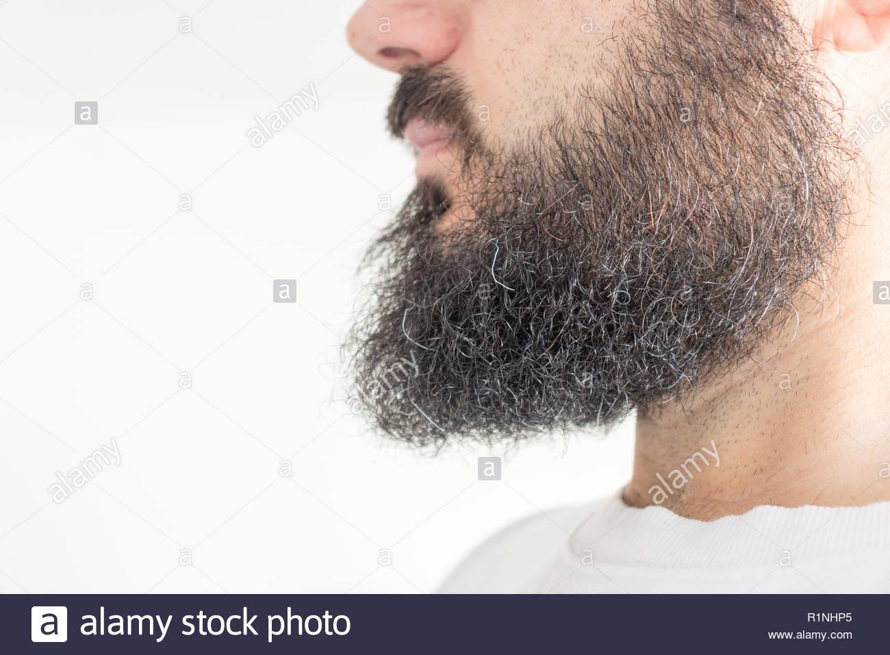 profil de l'homme à barbe noirs frisés banque d'images, photo stock