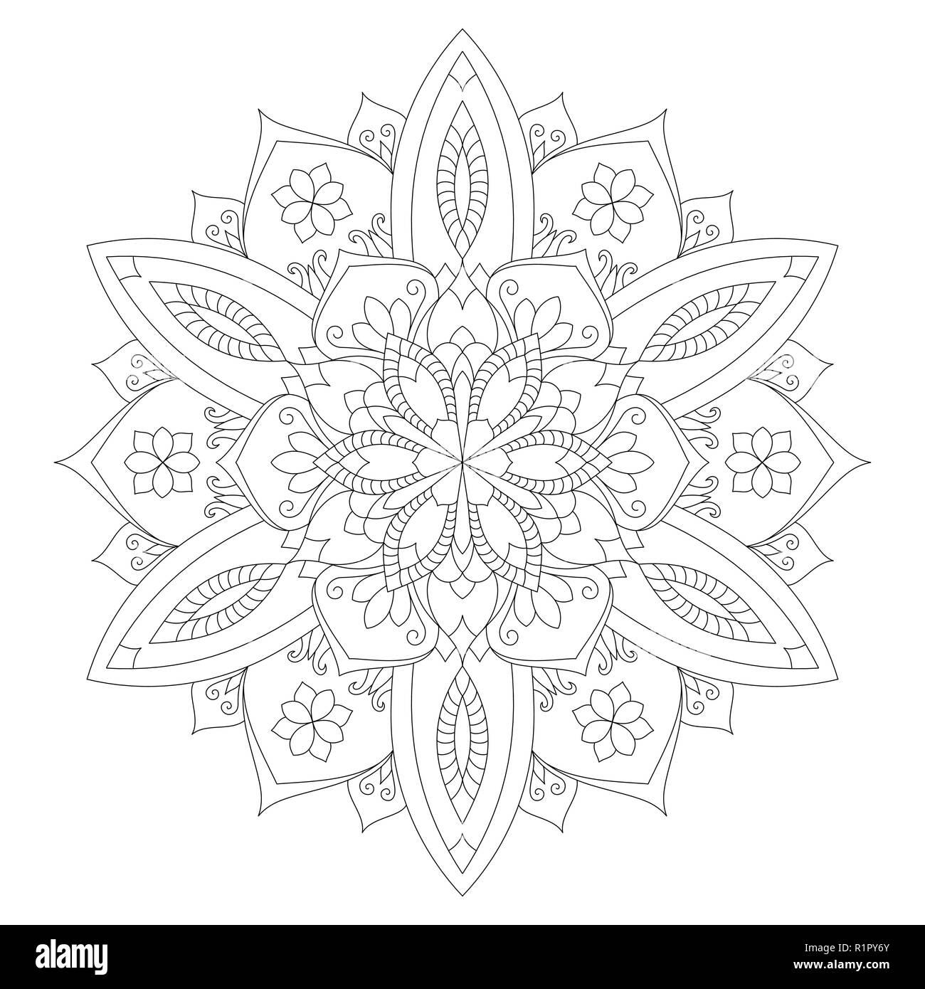 Coloriage Mandala Couleur.Coloriage Mandala Flower Design Livre Adulte Couleur De L Element