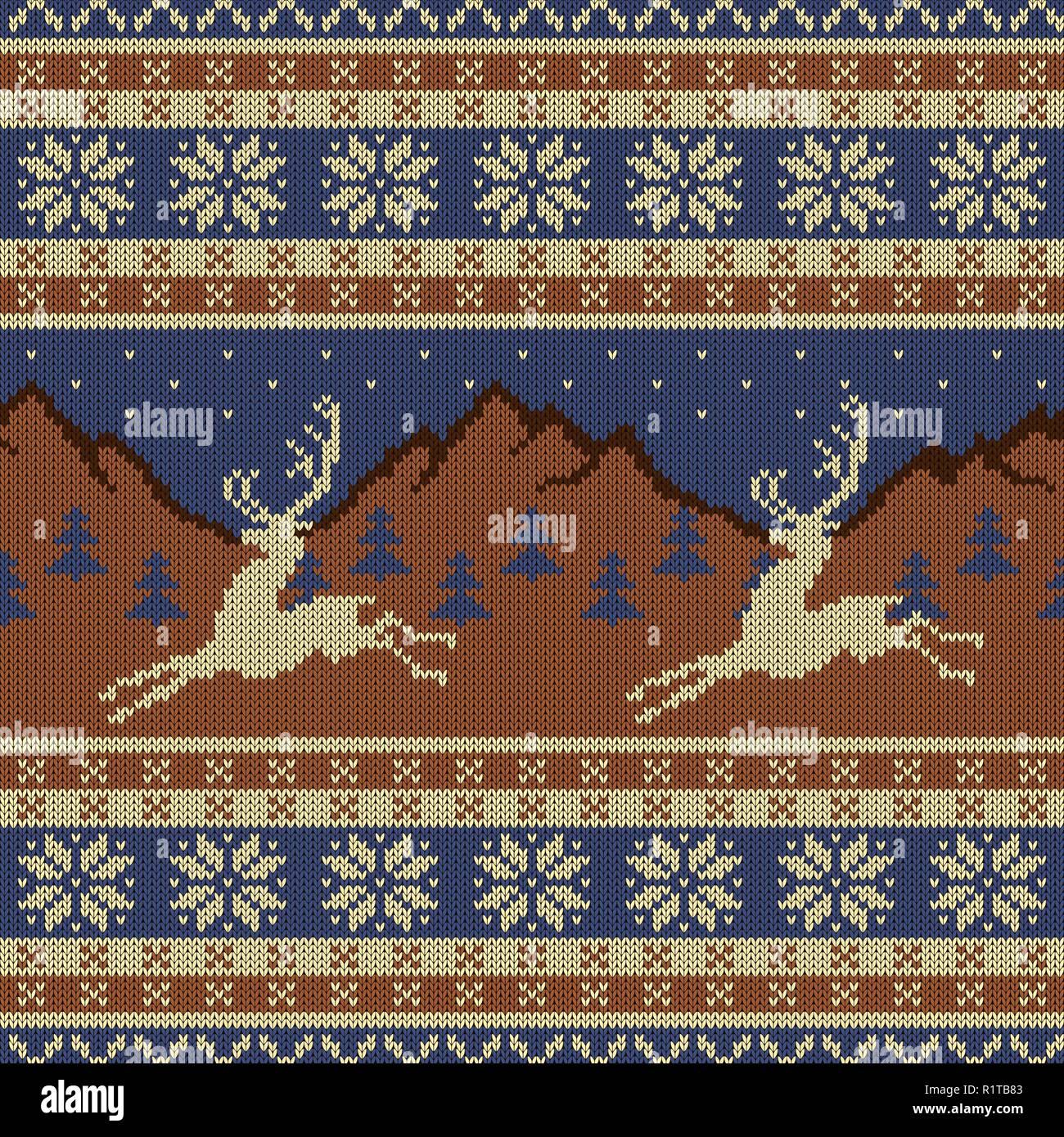 Tapisserie Laine Tricote Avec Cerfs Sur Un Fond De Montagnes Ciel