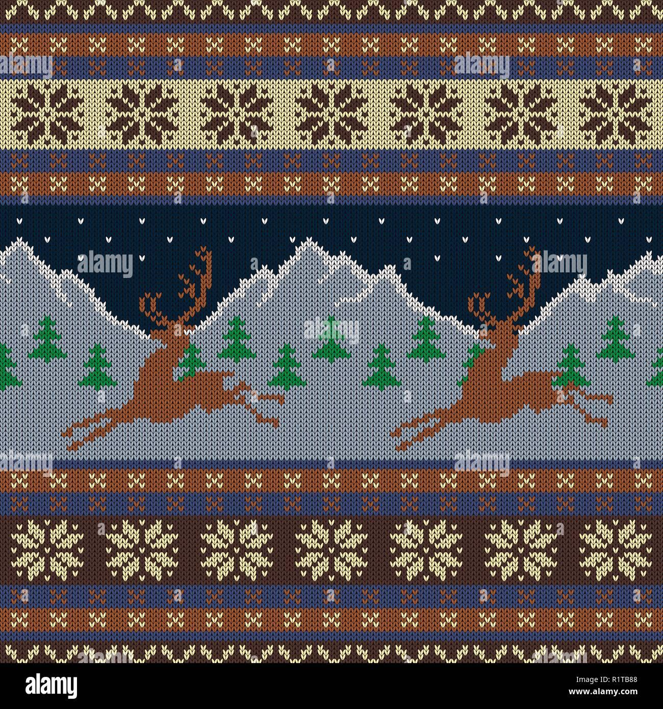 Tapisserie Laine Tricote Avec Cerfs Sur Un Fond De Montagnes