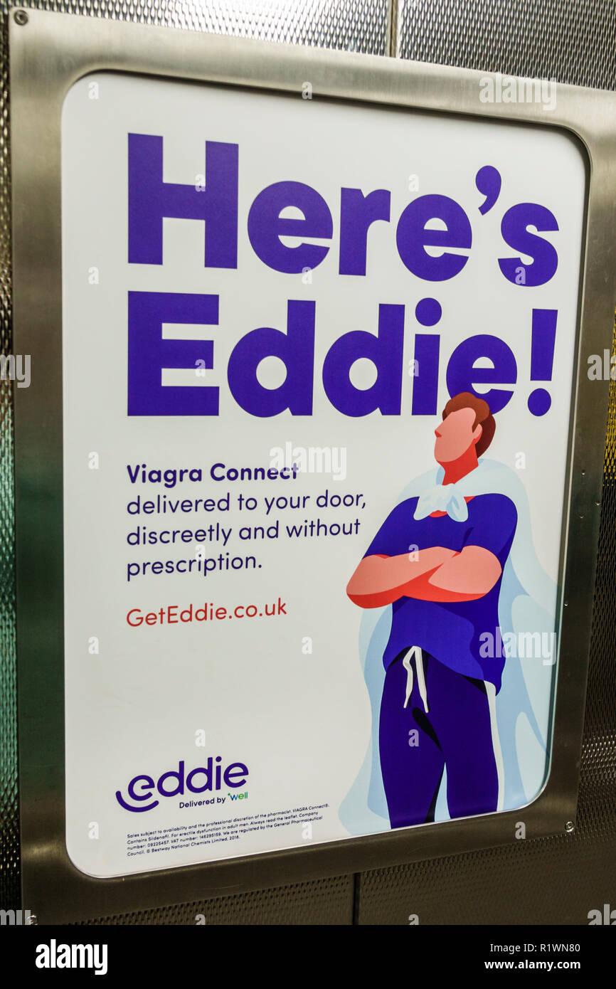 Londres Angleterre Royaume-Uni Grande-bretagne Lambeth Rive Sud annonce publicité Viagra dysfonction érectile médicament pharmaceutique Connect Photo Stock