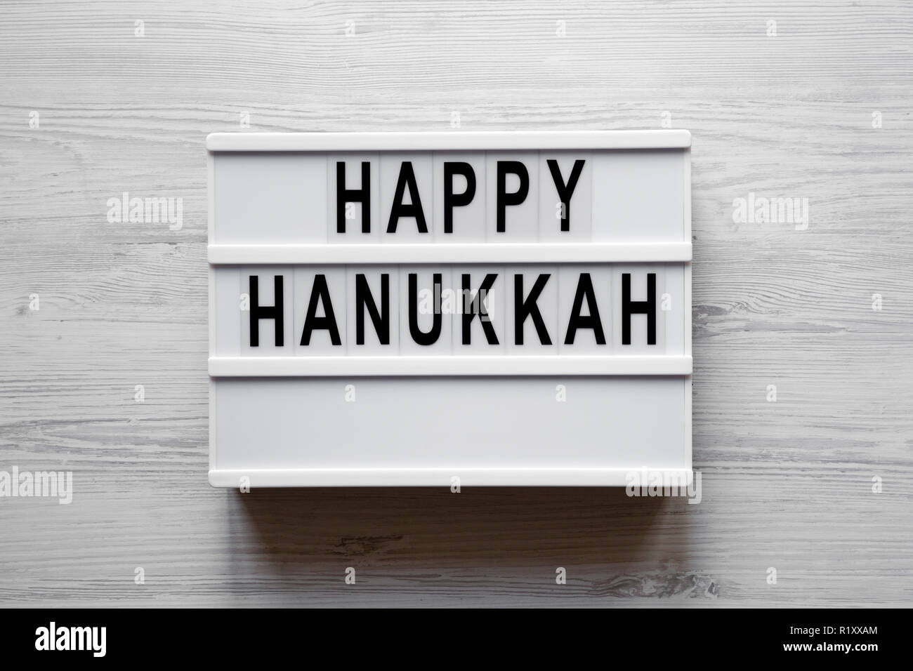 Lightbox Avec Happy Hanukkah Mot Over White Background Vue De