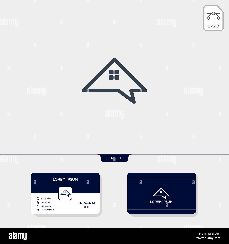 Accueil Immobilier Forum Chat Ou De Parler Lentreprise Creative Modele Pour Logo Vector Illustration Carte Visite Design