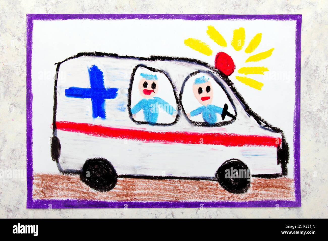 Dessin A La Main En Couleur Ambulance Et Paramedics Photo Stock Alamy