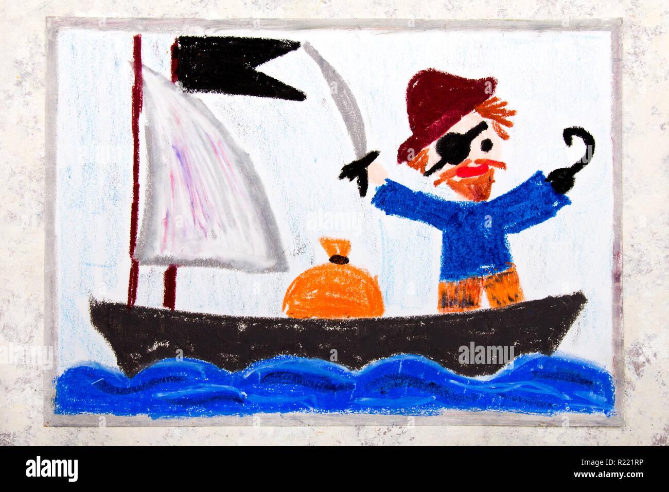 Dessin En Couleur Vieux Pirate Avec Un Patch Sur Son Oeil Crochet Et Le Bouchon Se Trouve Sur Le Bateau Pirate Photo Stock Alamy