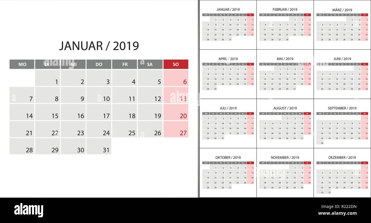 Semaine 2019 Calendrier.2019 Calendrier De La Semaine Lundi Sur La Langue Allemande