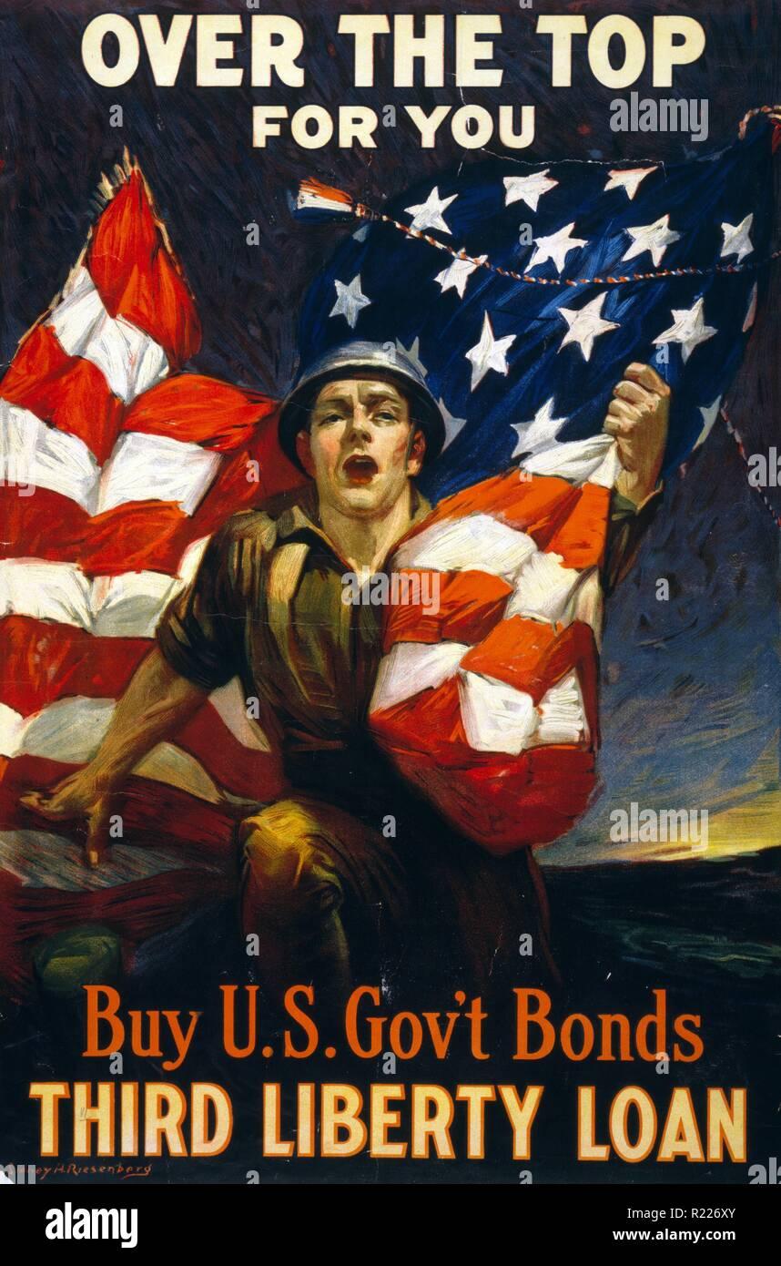 Au-dessus du dessus pour vous - acheter des obligations du gouvernement des États-Unis, Troisième liberté prêt. 1918 American World War One affiche de propagande par Sidney H. Riesenberg Banque D'Images