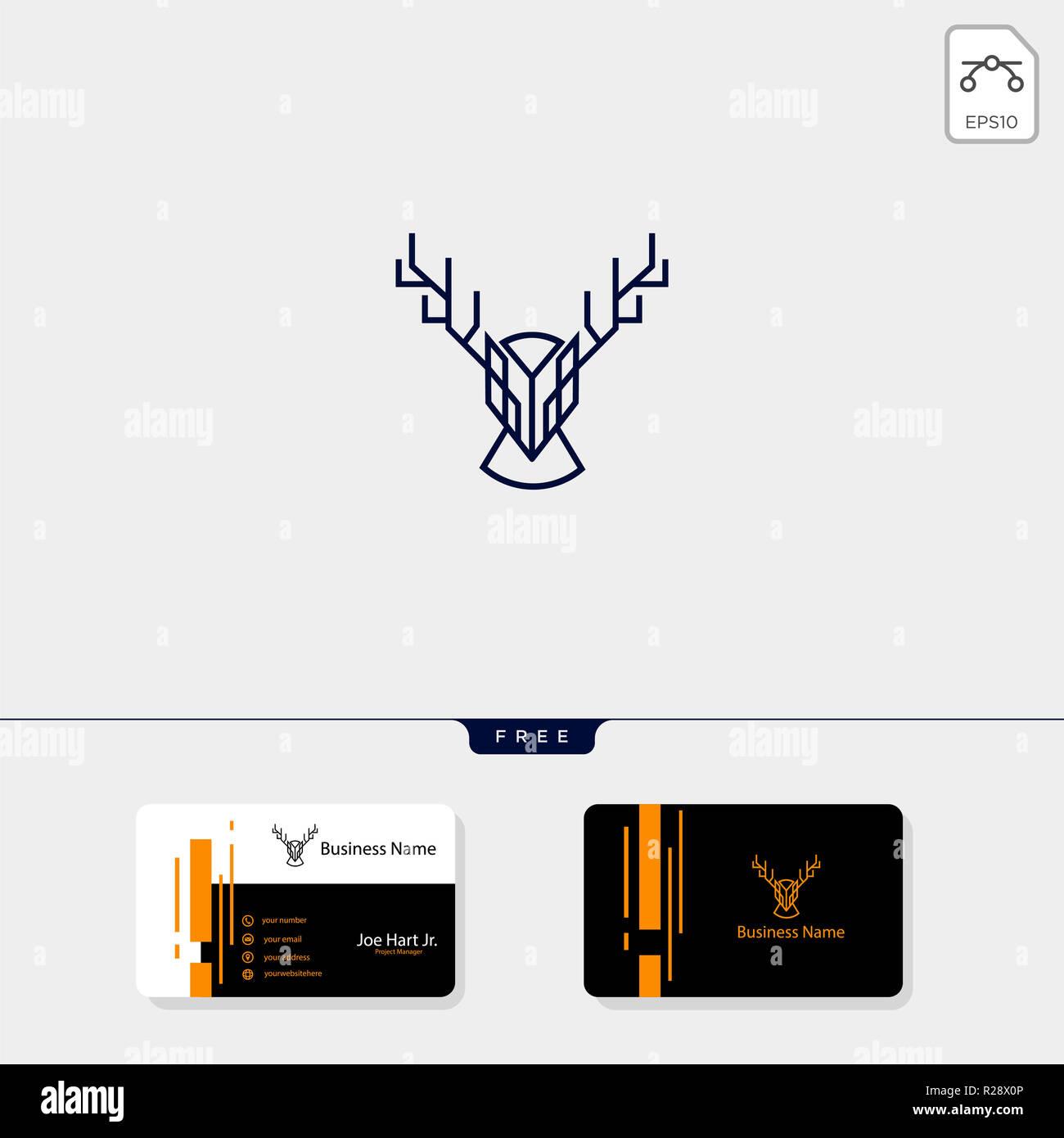 Deer Head Logo Cratif Avec La Ligne Modle De Style Art Illustration Vectorielle Conception Carte Visite Gratuit