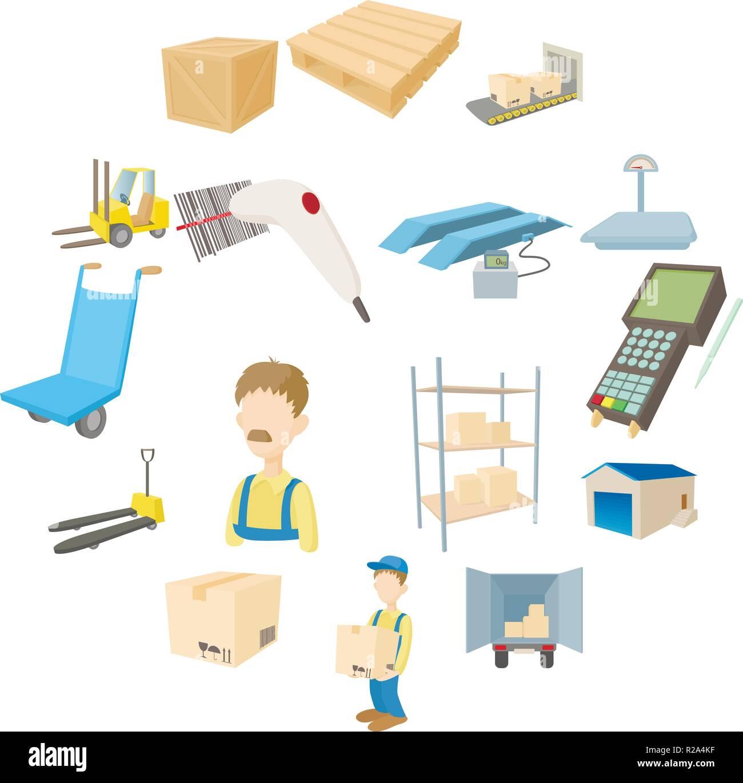 stockage logistique entrep t icons set dans un style de. Black Bedroom Furniture Sets. Home Design Ideas