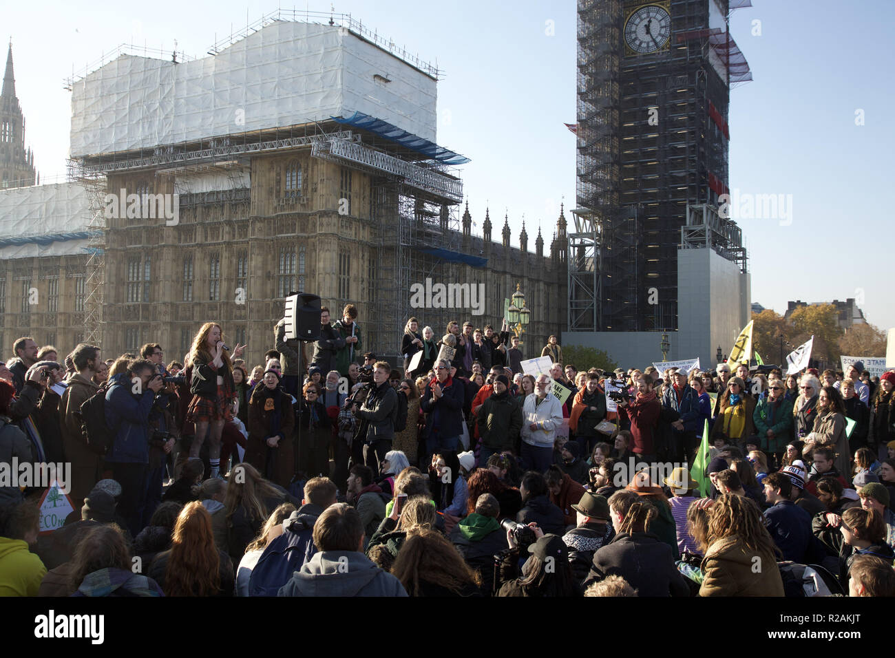 Rébellion d'extinction à Westminster. Banque D'Images