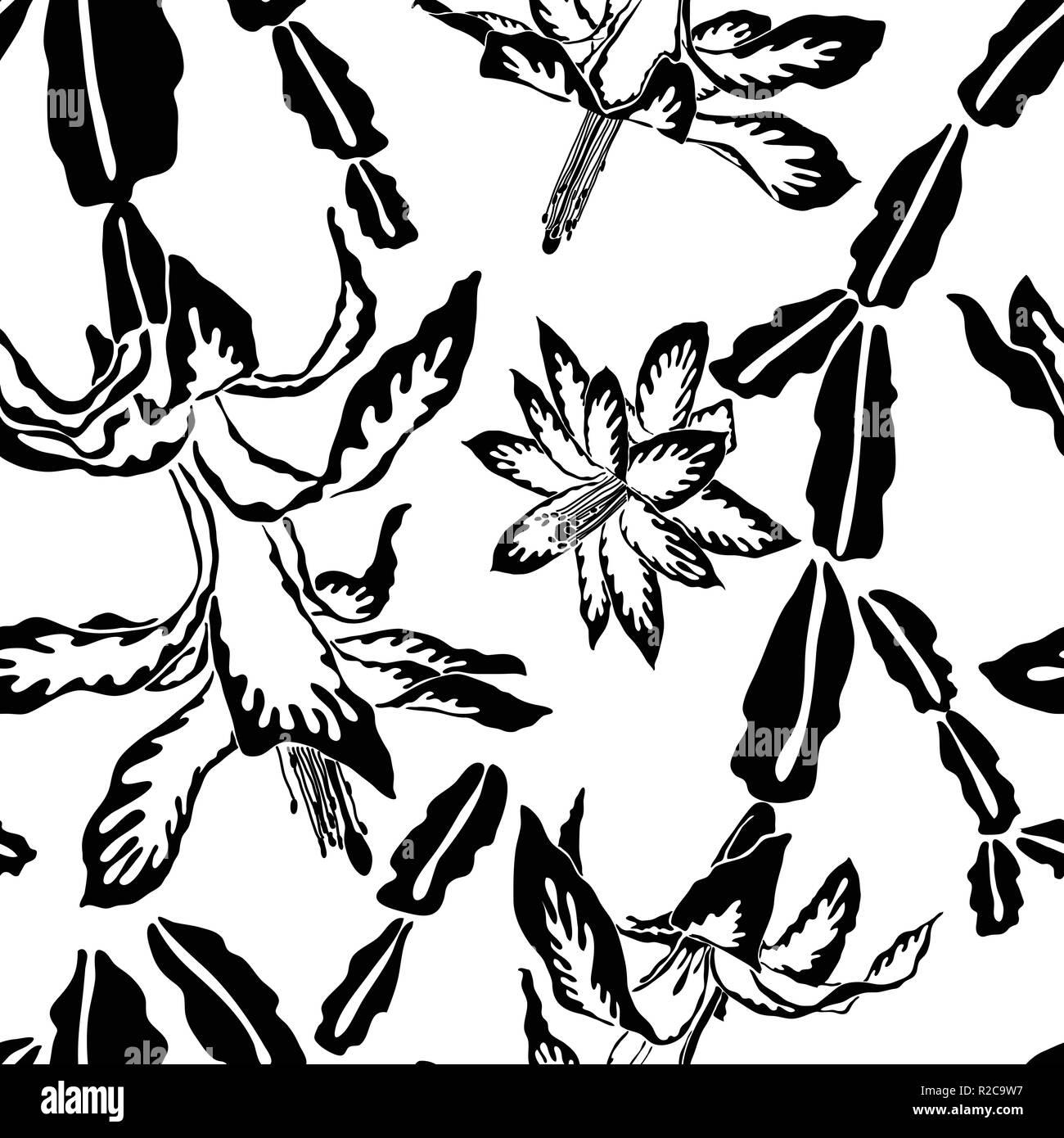 Les Grandes Fleurs De Cactus De Noël Noir Et Blanc Motif