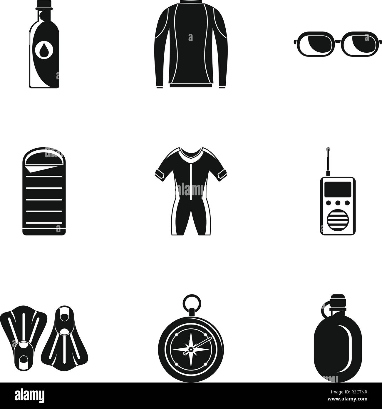 Icônes d'immersion. Simple jeu d'immersion 9 vector icons for web isolé sur fond blanc Photo Stock