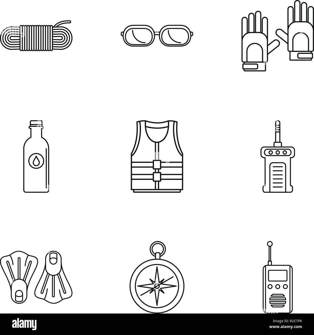 L'immergeant icons set. Ensemble de 9 grandes lignes l'immergeant vector icons for web isolé sur fond blanc Photo Stock