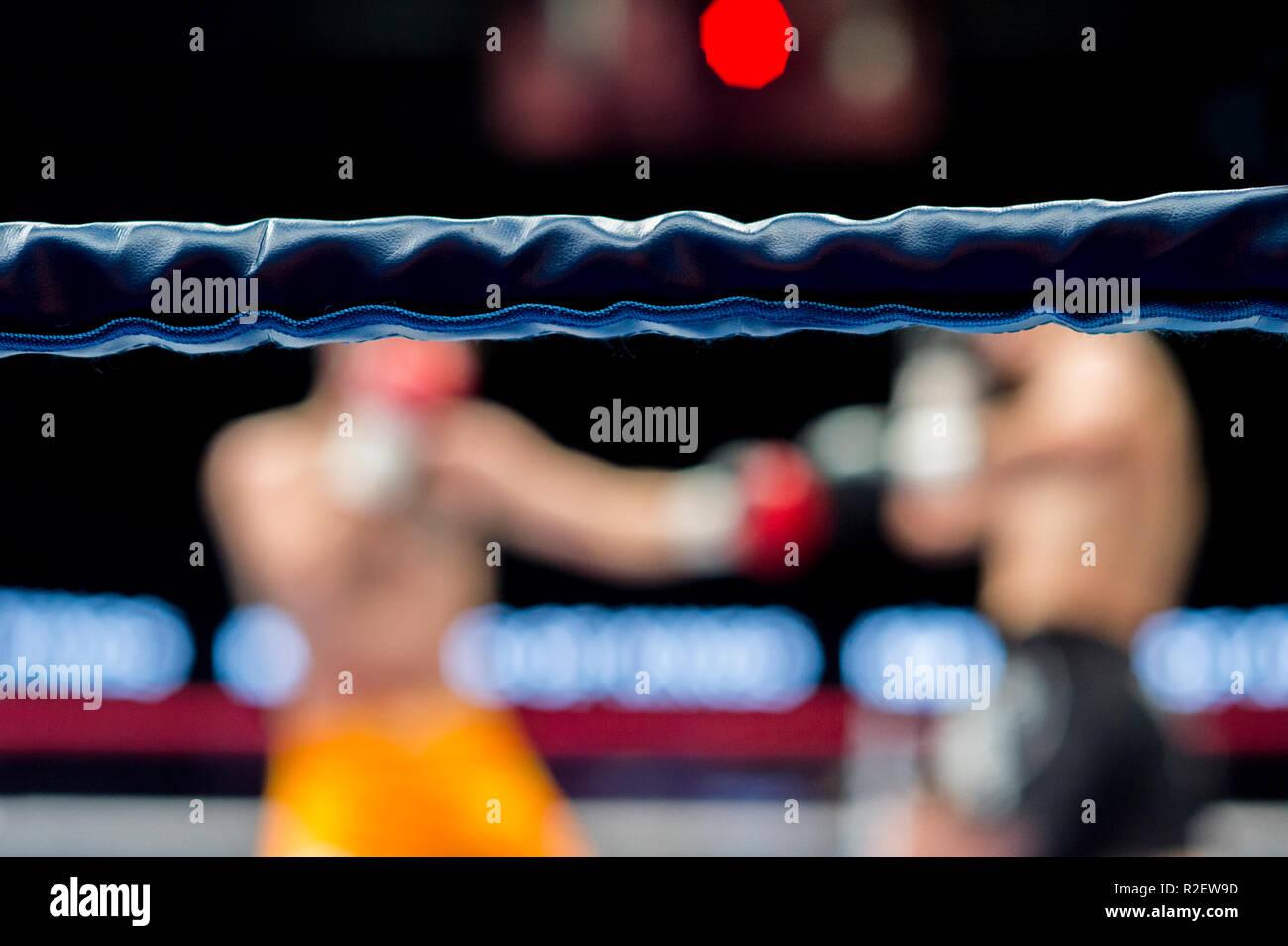 Compétition de boxe, les détails de la lutte ring Photo Stock