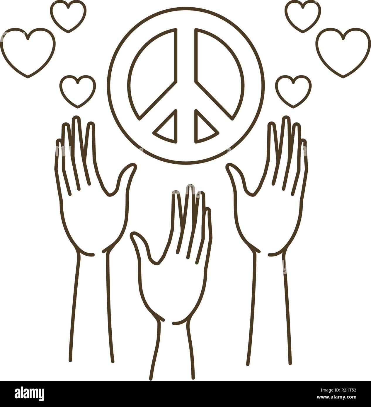 Recevoir des mains symbole d'amour et de paix Photo Stock