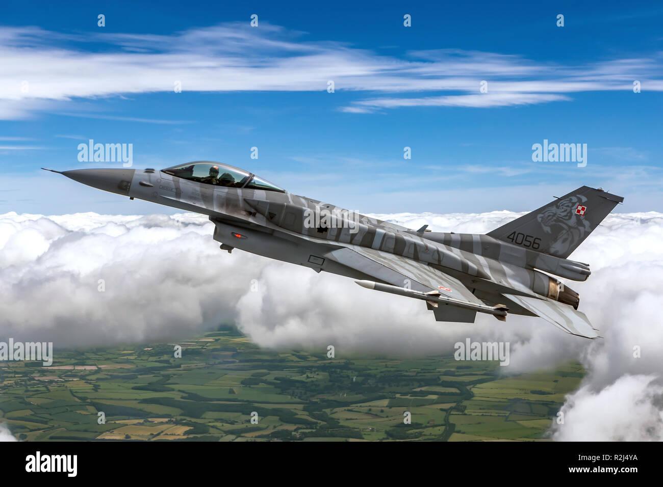 Polish Air Force F-16 photographié au Royal International Air Tattoo (RIAT) Banque D'Images