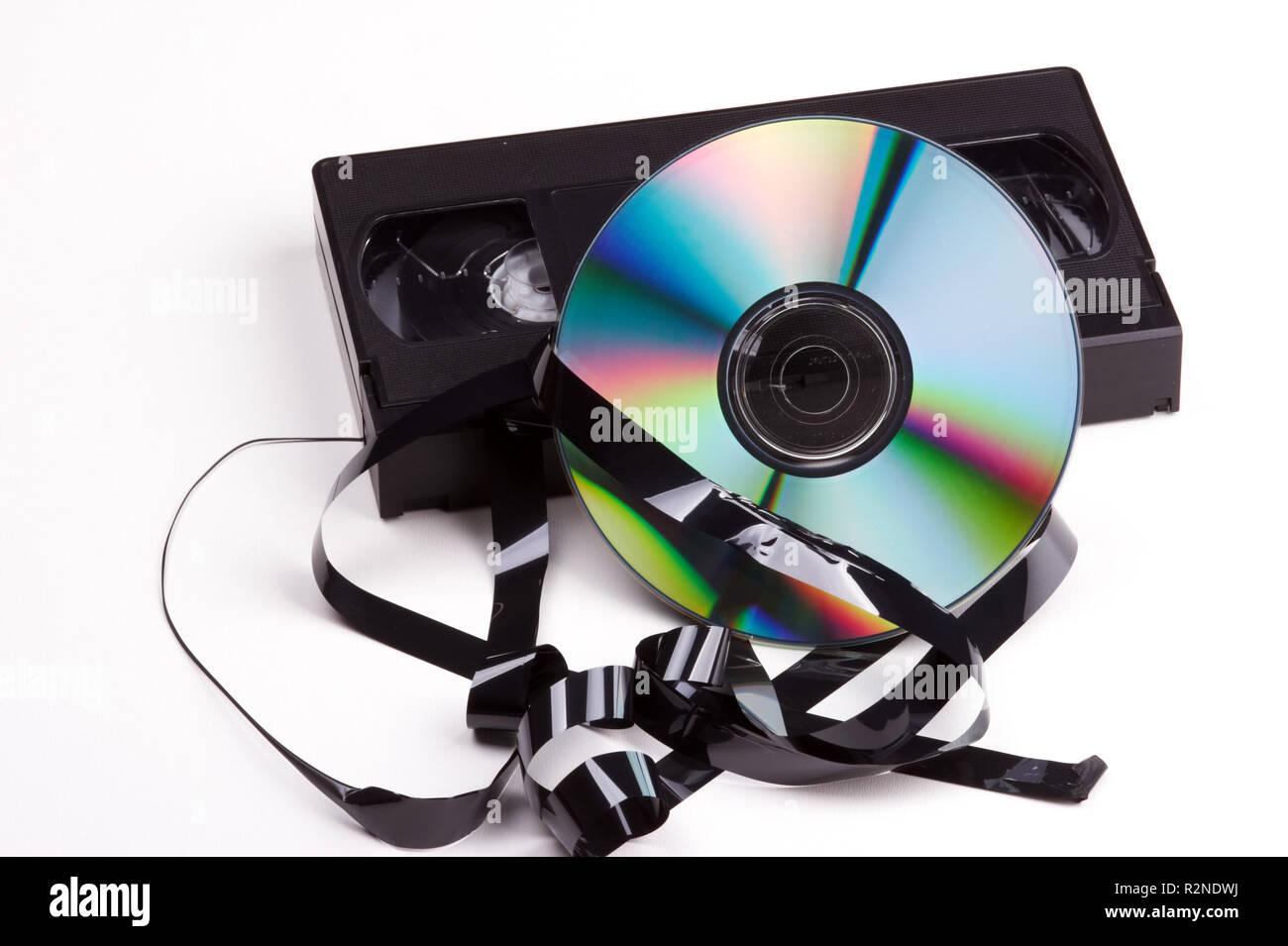 Dvd vidéo contra Banque D'Images