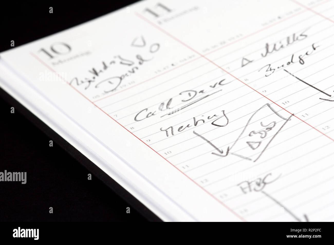 calendrier de bureau Banque D'Images