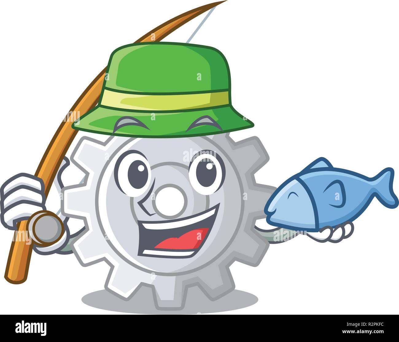 Les engins de pêche sur le mécanisme des paramètres de forme mascot Photo Stock