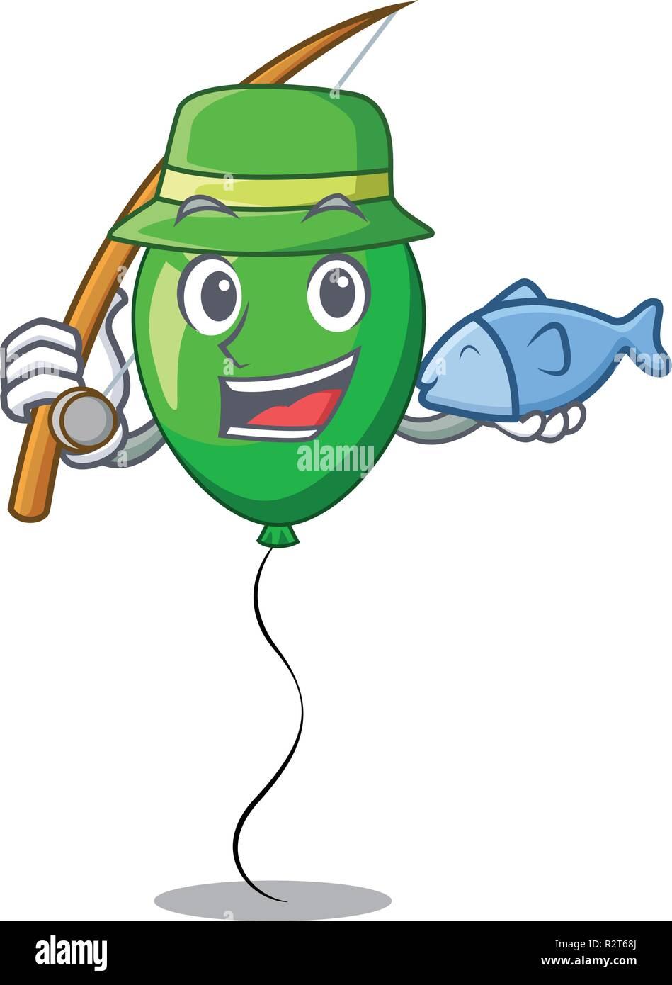 Ballon Vert pêche caricature avec de beaux rubans Photo Stock