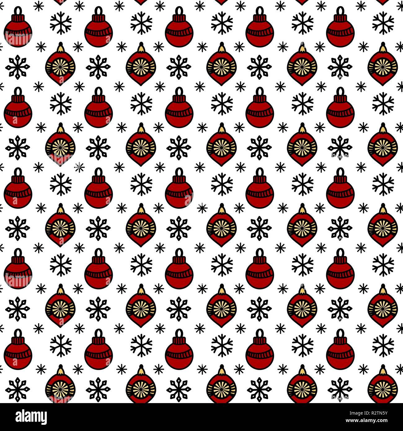 Modèle Transparent Avec Des Boules De Noël Et Des Flocons De