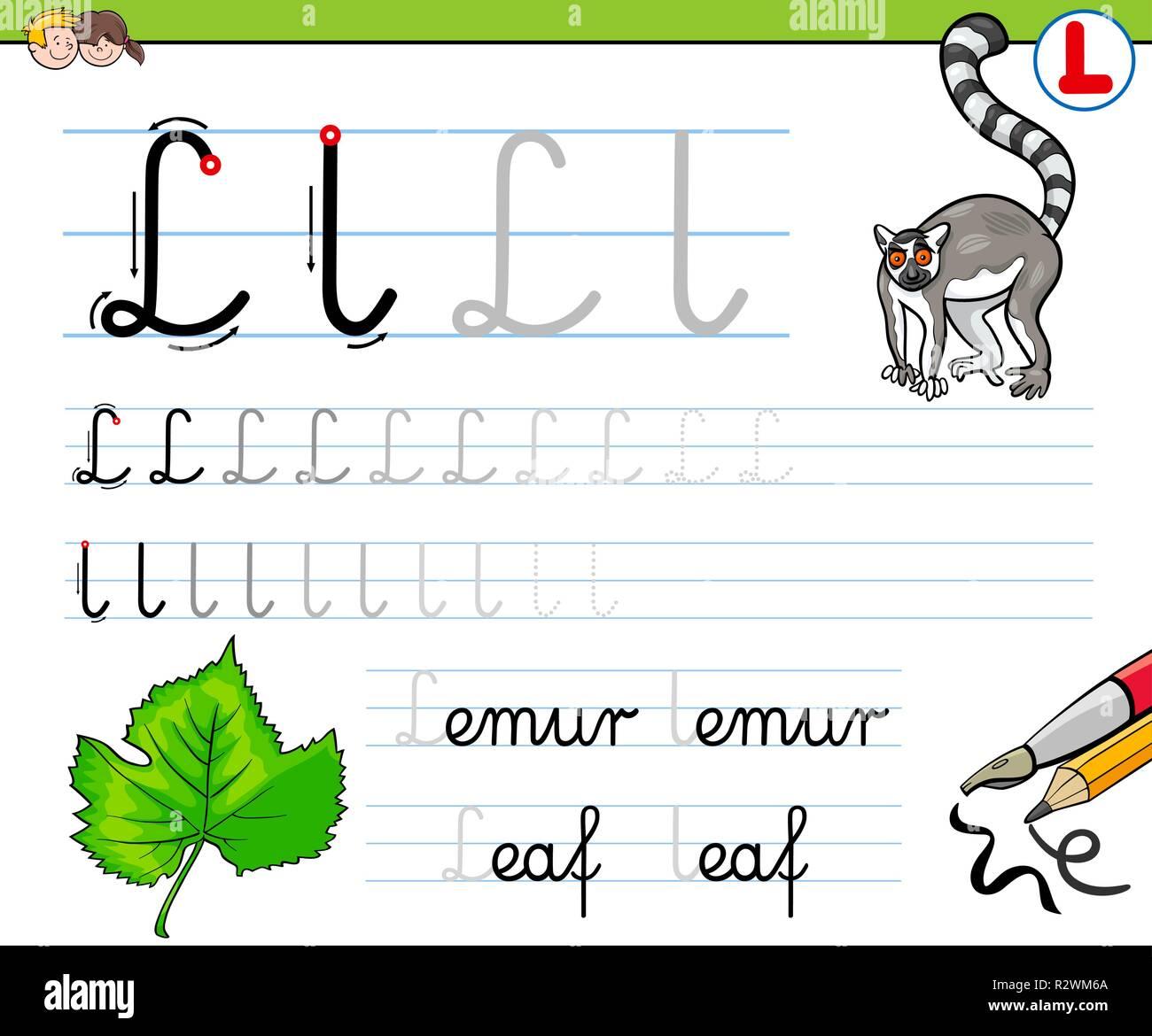 Cartoon Illustration de l'écriture pratique avec la lettre L pour ...