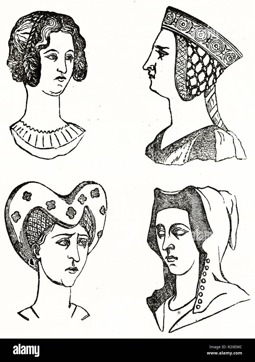 Vieille Illustration Coiffures En Moyen Age 14e Siecle Par Auteur