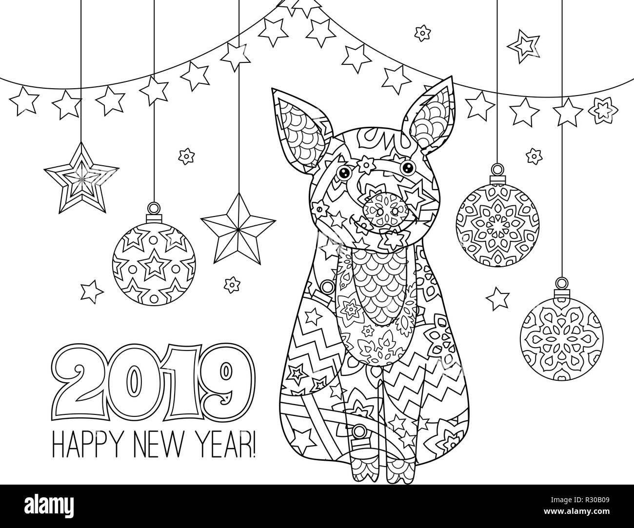 Cochon Symbole De La Nouvelle Année 2019 En Style Zentangle Doodle