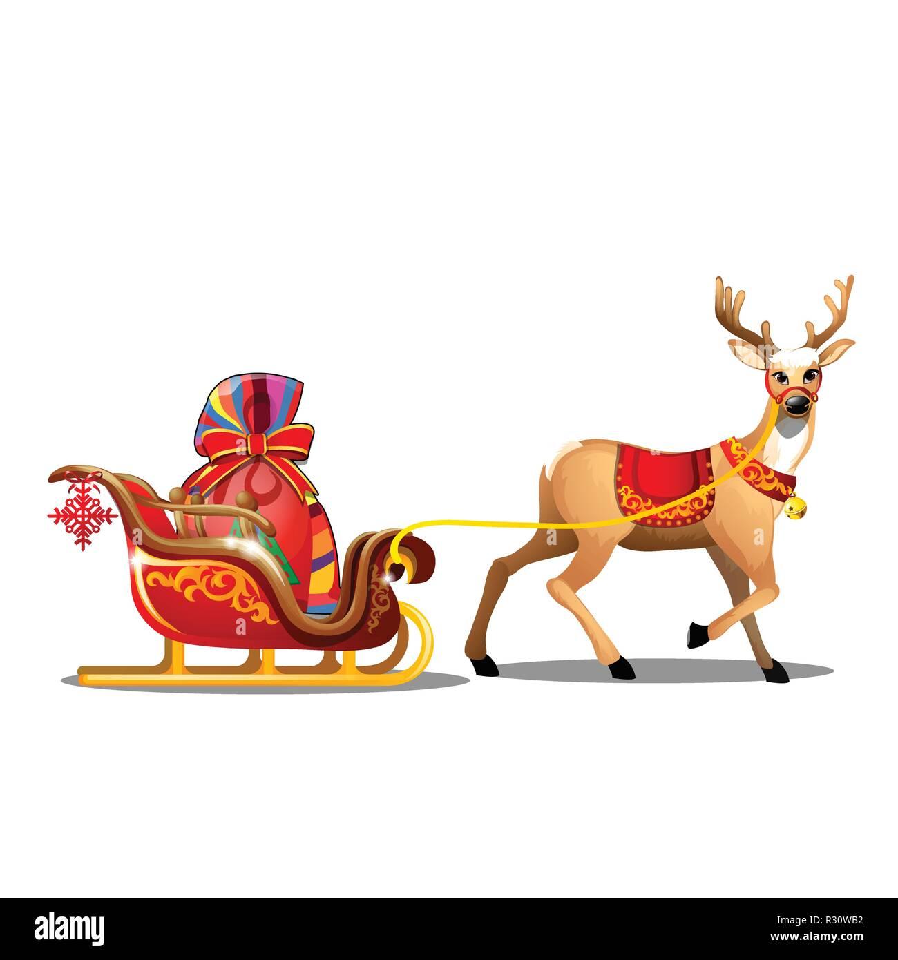 Dessin Animé De Noël Avec Cerf Rouge Avec Couverture Et Sac