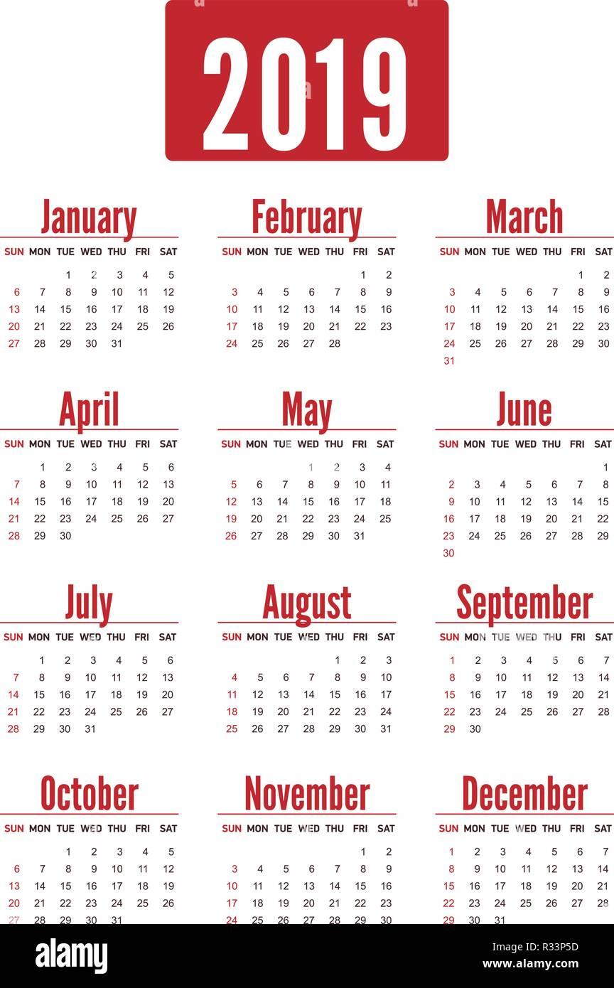 Calendrier De Poche 2019.Rouge Verticale Simple Mise En Page Calendrier Pour 2019 Ans