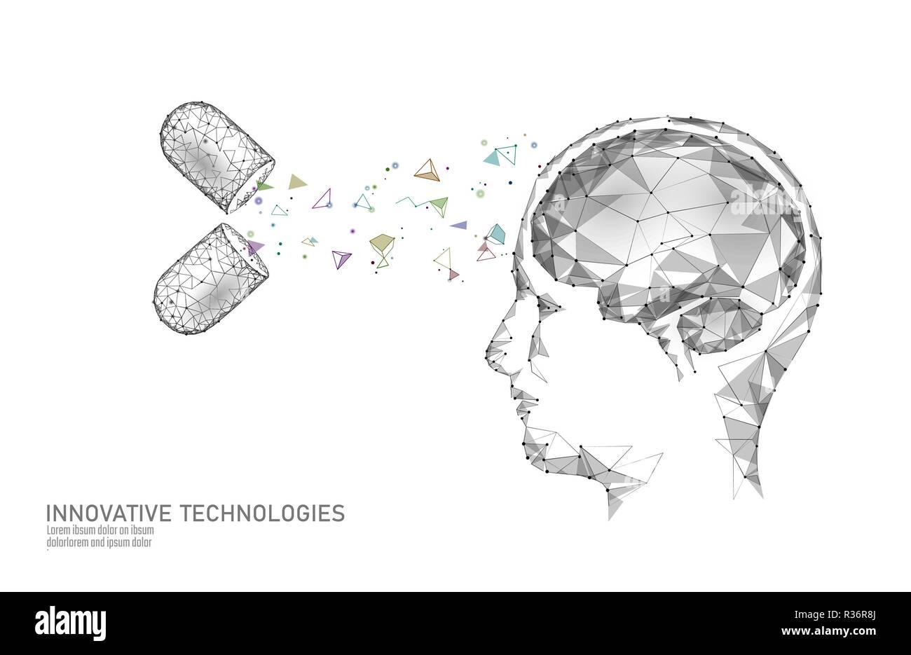 Traitement du cerveau low poly 3D render. Nootropique médicaments stimulant la capacité humaine smart de la santé mentale. La réadaptation cognitive de la médecine sur la maladie d'Alzheimer et démence vector illustration Illustration de Vecteur