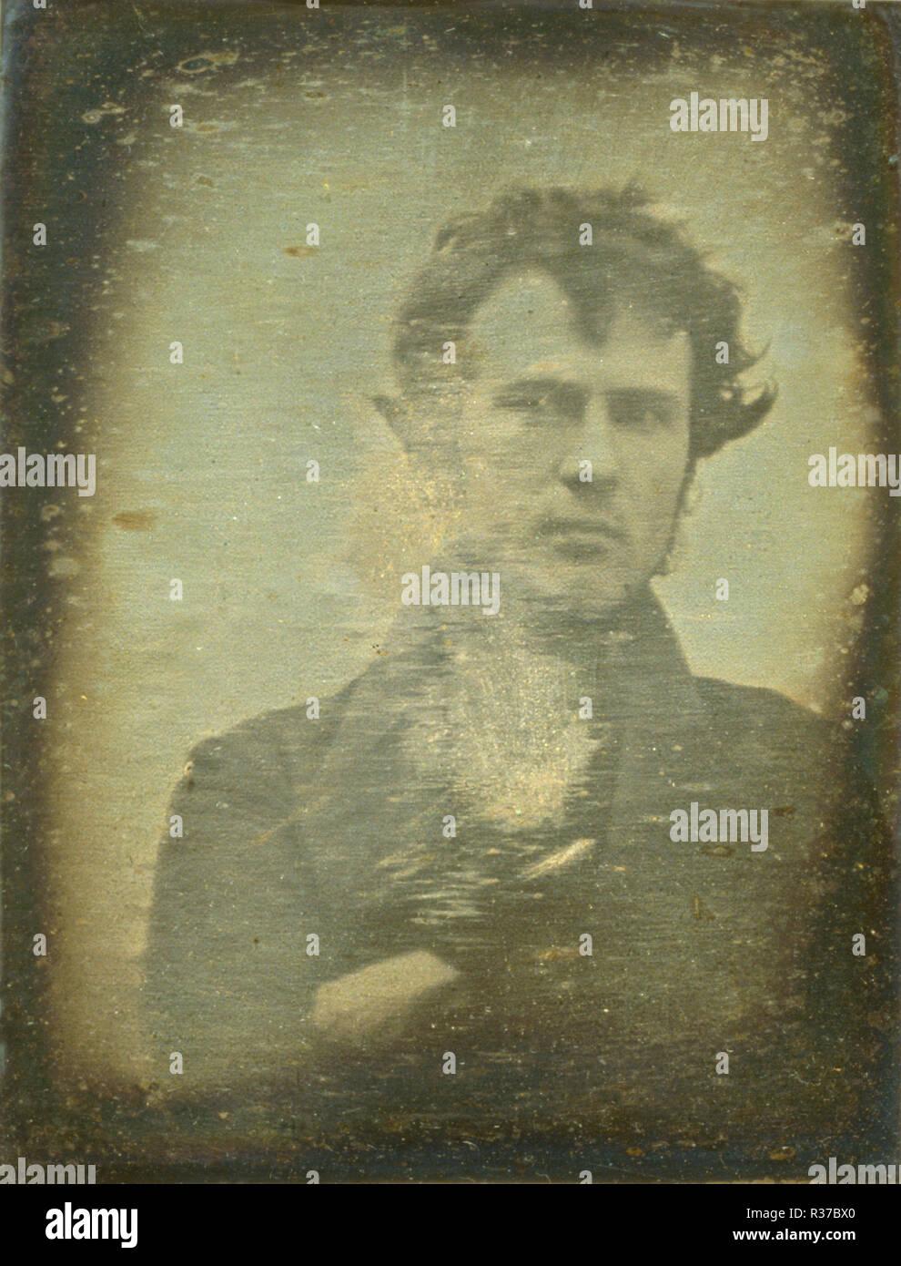 La première image d'un portrait photographique de l'jamais produits. Robert Cornelius, l'auto-portrait Photo Stock