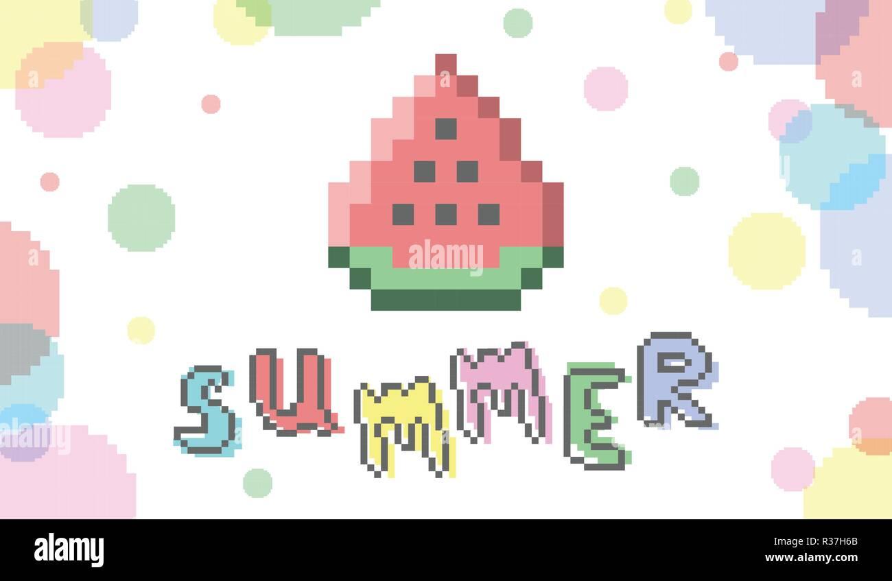 Vector 8 Bit Pixel Art Bannière Dété Big Watermelon Slice