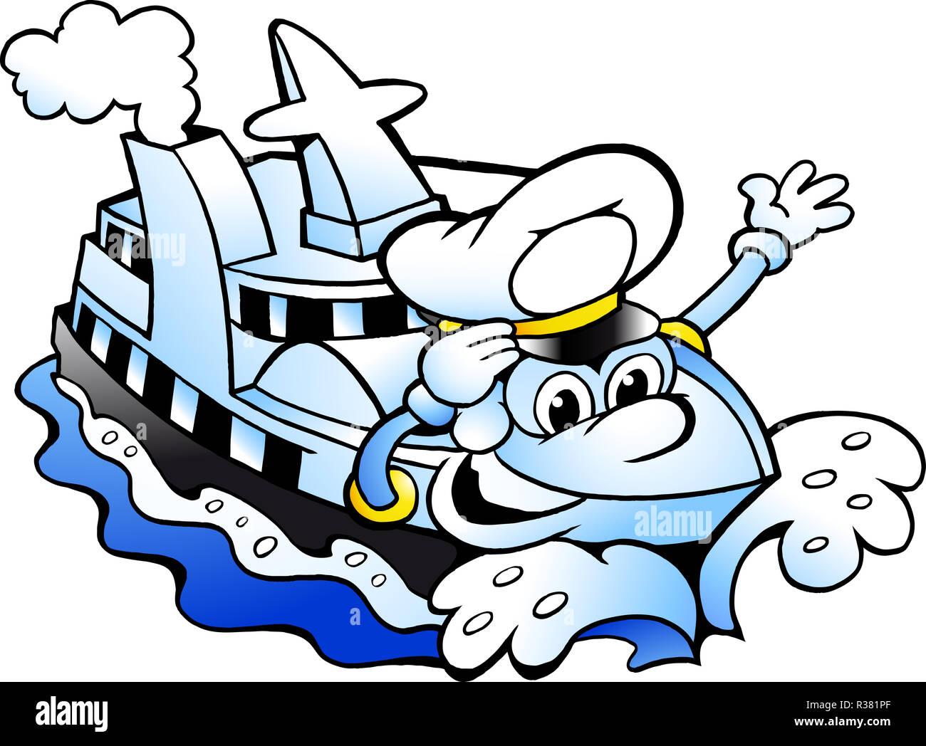 Cartoon Vector Illustration D Un Capitaine De Navire De Croisiere Heureux Mascot Photo Stock Alamy