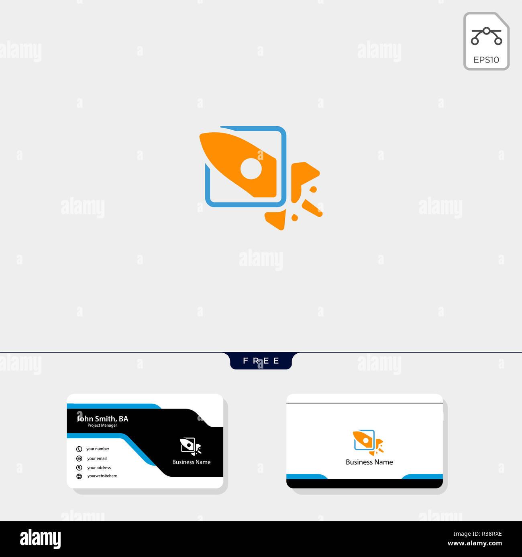 Fusee De Lancement Et Concept Cloud Pour Entreprises Modele Logo Vector Illustration Modele De Conception De Carte De Visite Gratuit Photo Stock Alamy